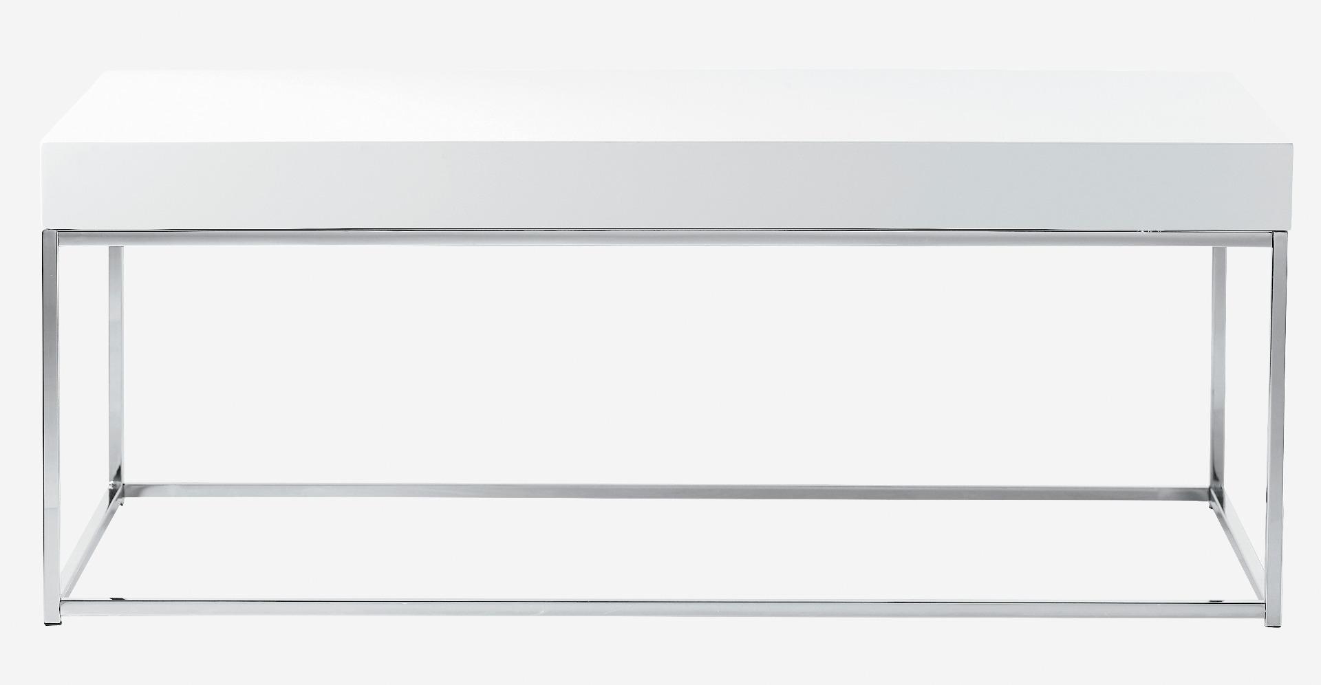 Mesa de centro block lacado blanco color cromo