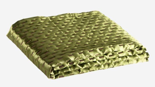 Cubrecama de raso verde 100x200 cm
