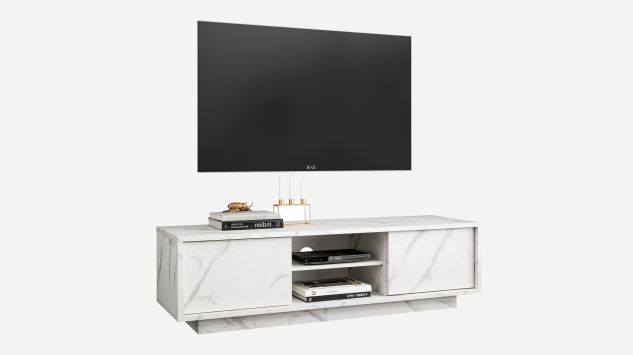 Mueble Tv Ice mármol blanco