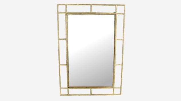 Espejo rectangular de metal dorado
