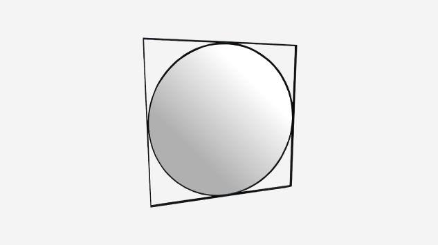 Espejo de metal negro 77 cm