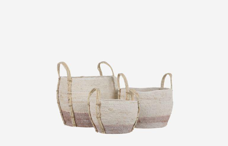Set de 3 cestas Andros rosa