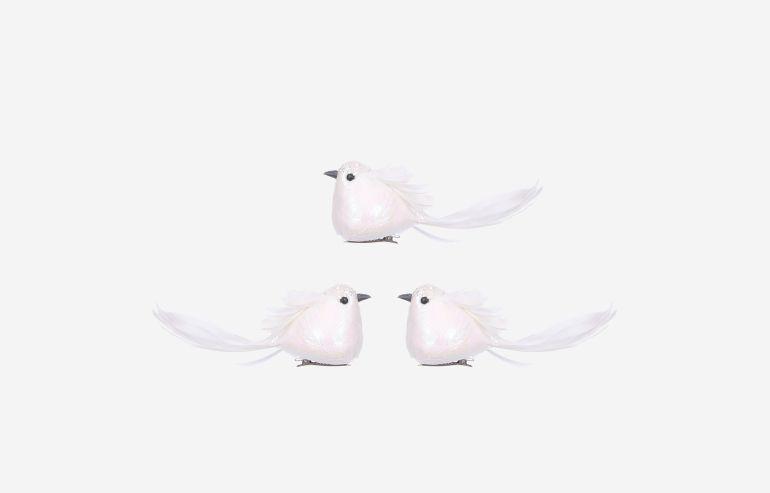 Pájaro de Navidad blanco