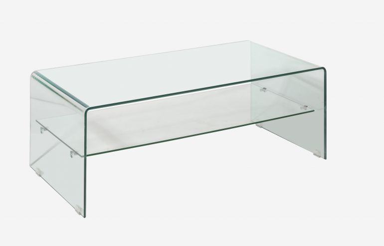 Transparente coffee table with tray