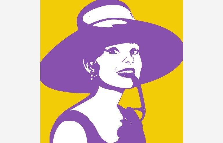 Cuadro Audrey amarillo 105x105 cm