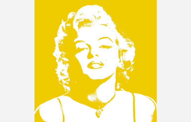Cuadro Marylin amarillo 105x105 cm