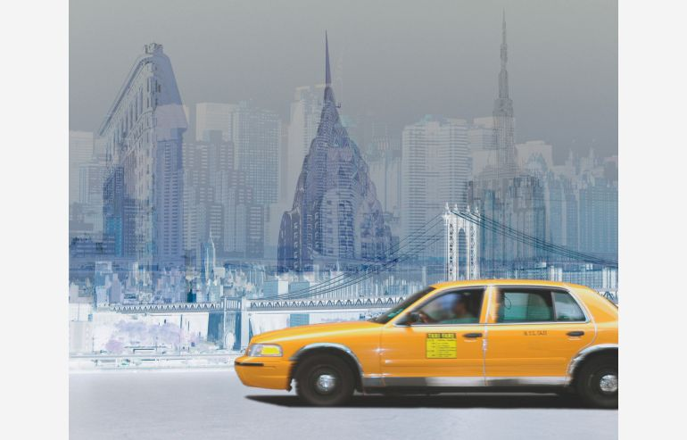 Cuadro mix New York taxi 120x150 cm