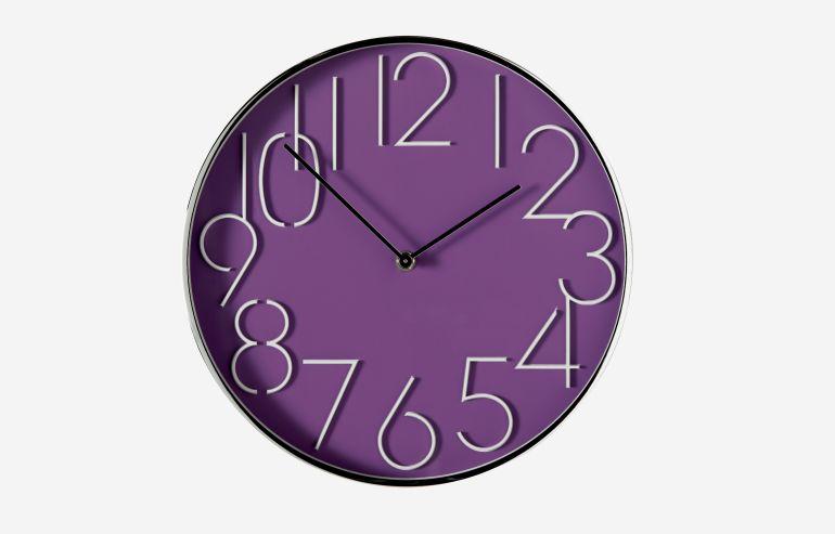 Reloj redondo malva 30 cm