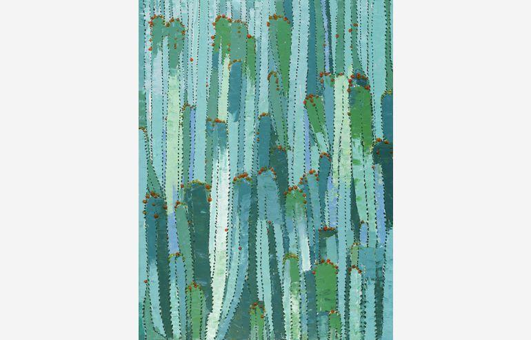Cuadro oleo Cactus