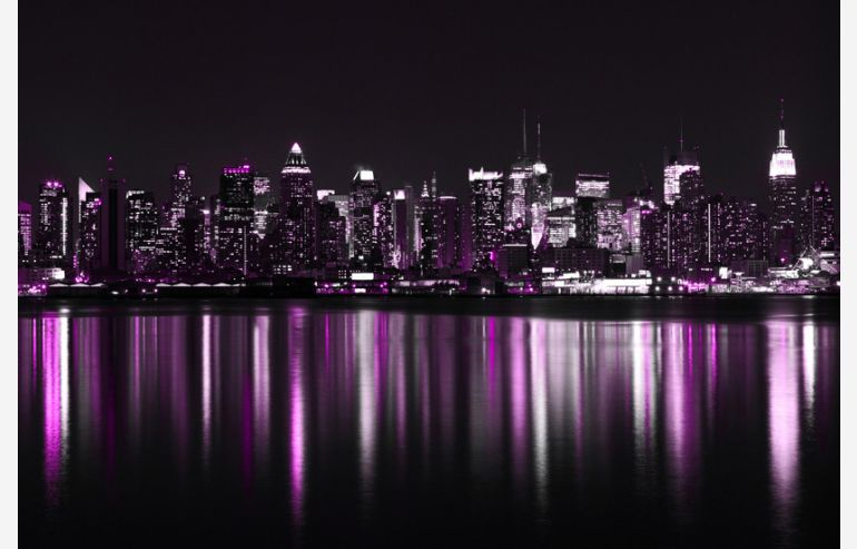 City night tempered glass picture