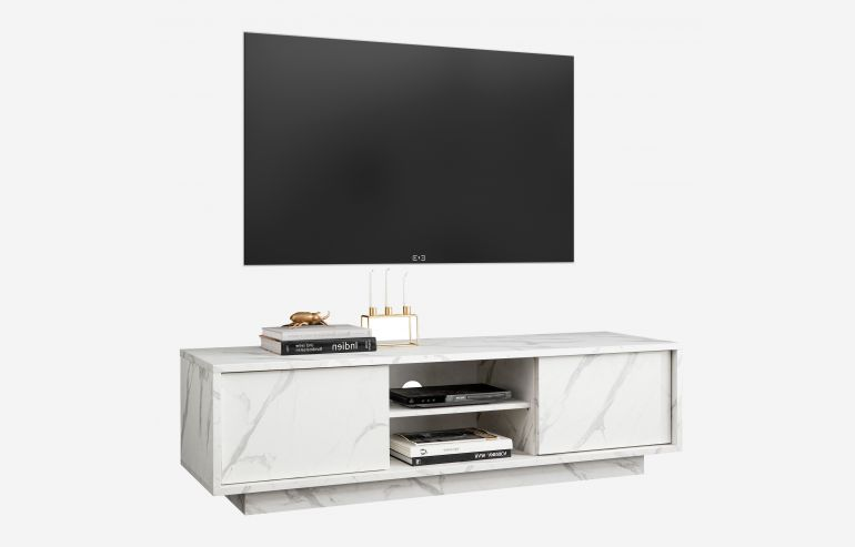 Mueble Tv Ice mármol blanco