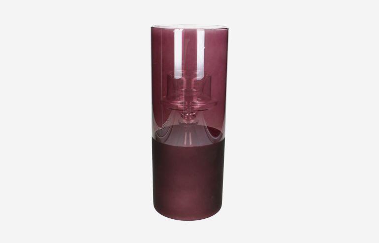 Candelabro de cristal rosa