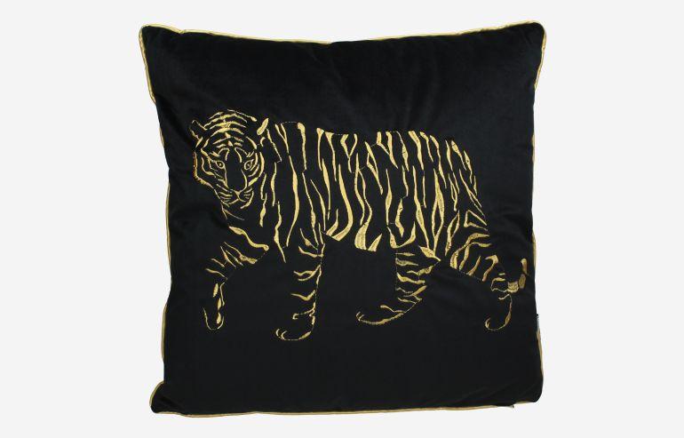 Cojin Tiger terciopelo negro