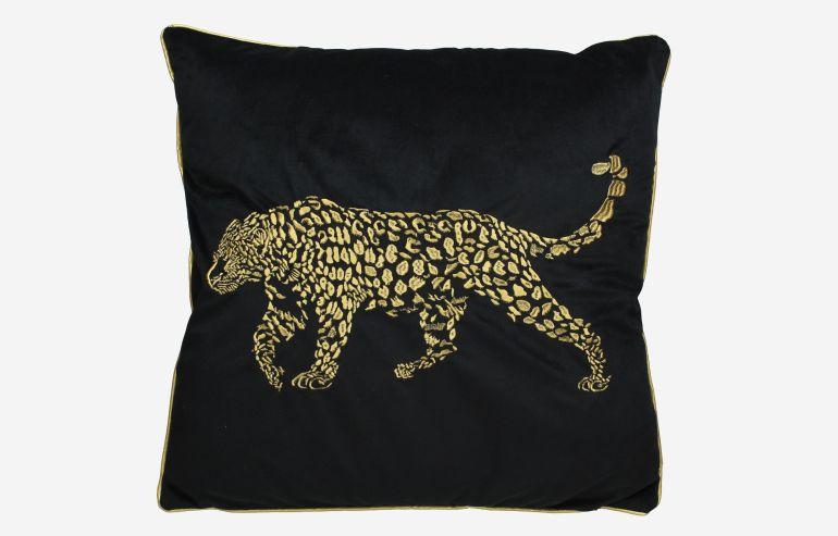 Cojín Leopard terciopelo negro