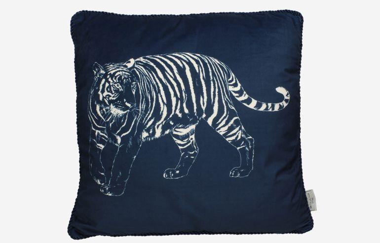 Cojín Tiger terciopelo azul