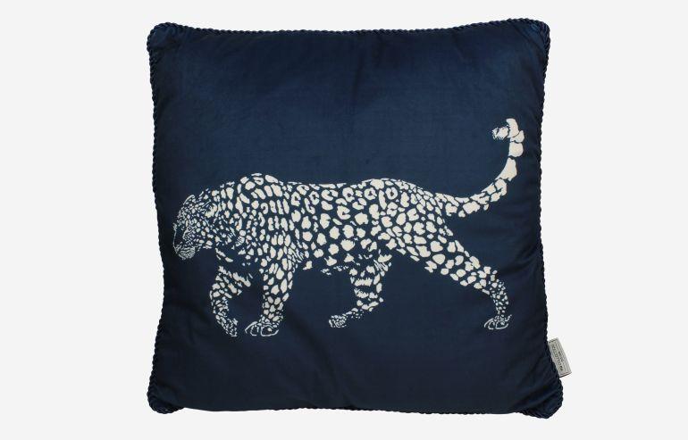Cojín Leopard terciopelo azul