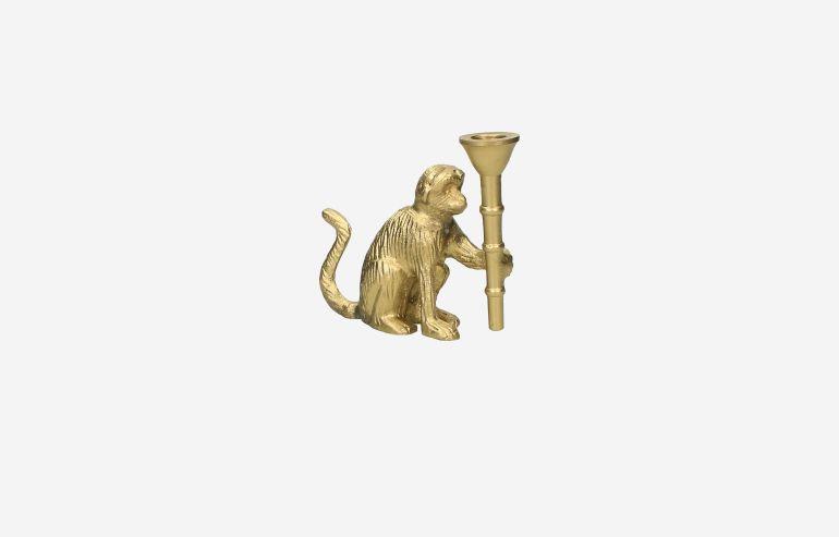 Candelabro Mono dorado