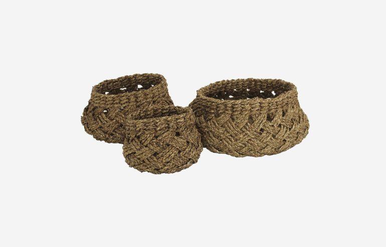 Set de 3 cestas de alga natural