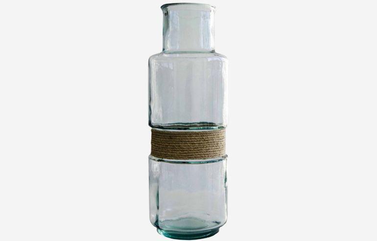 Jarrón Aba transparente 45 cm con cuerda