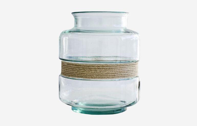 Jarrón Aba transparente 25 cm con cuerda