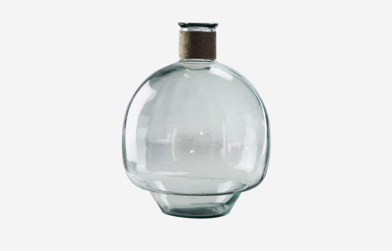 Jarrón Bom transparente 40 cm con cuerda