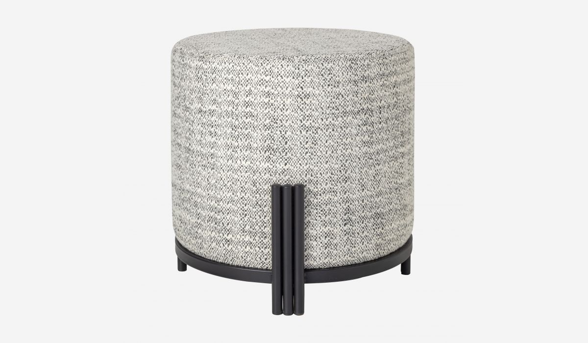 Joy small white and gray pouf