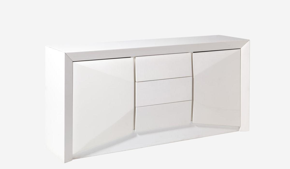 Muebles Lacados Blanco Para Salon.Aparador 2 Puertas 3 Cajones Arc Lacado Blanco
