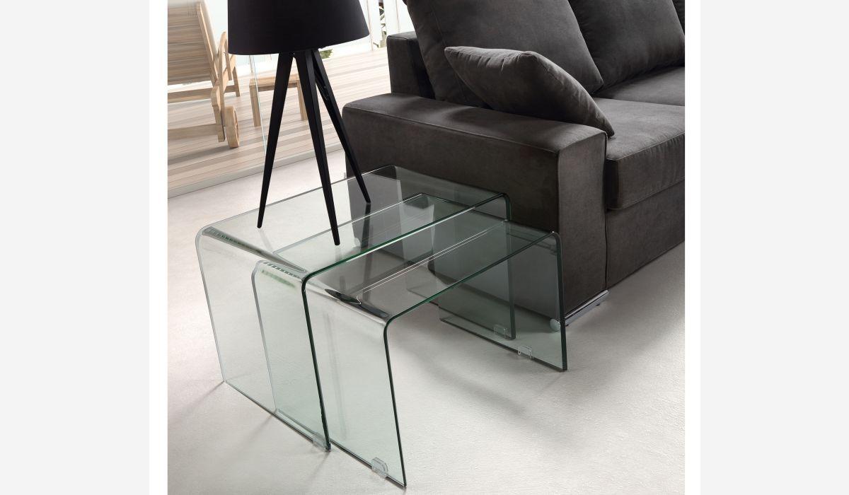 Set de mesas nido Transparente