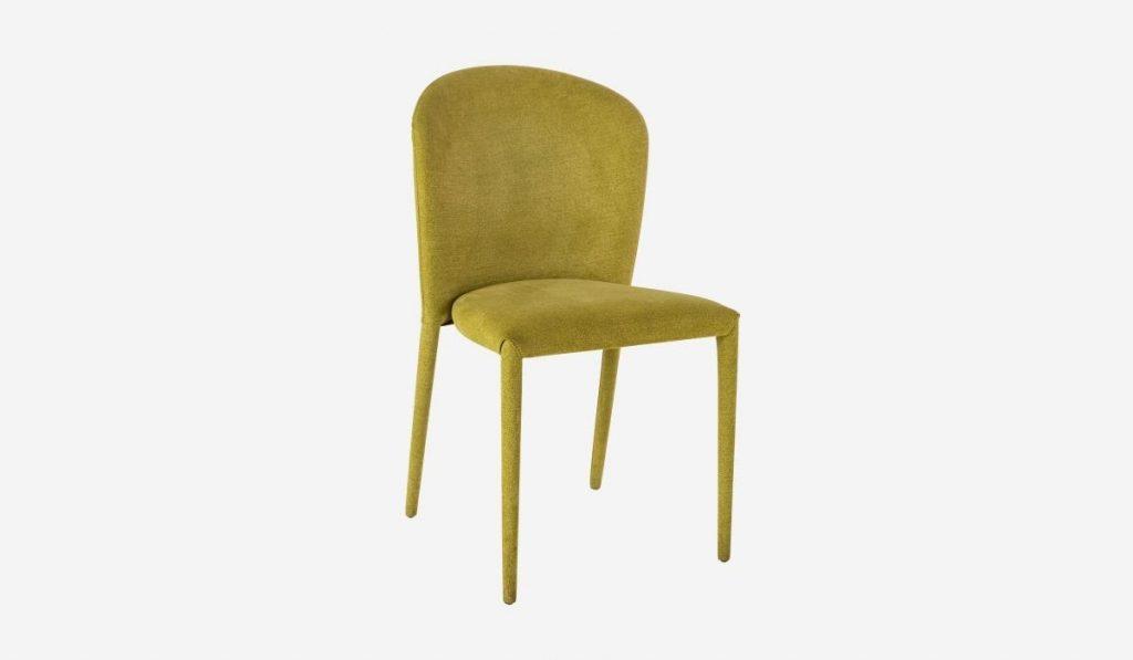 Detalle de silla de comedor sin apoyabrazos estilo cocoon