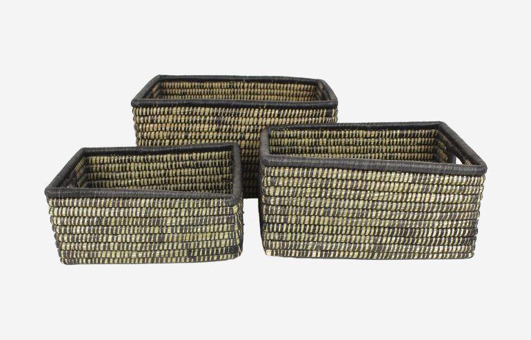 Set de 3 cestas Nature negro
